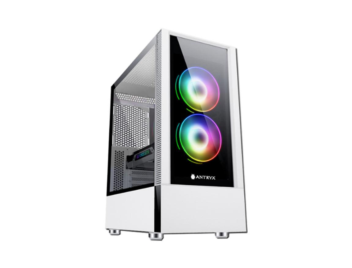 CASE ANTRYX RX-460 WHITE ( AC-RX460W ) S/ FUENTE | BLANCO | 1 PANEL VIDRIO | LED- ARGB