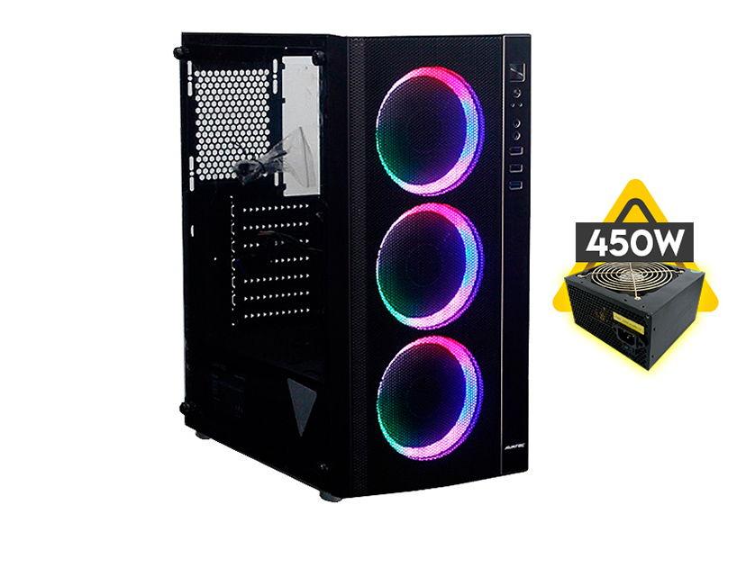CASE AVATEC ( CCA-4703BK ) C/ FUENTE 450W | RGB | NEGRO