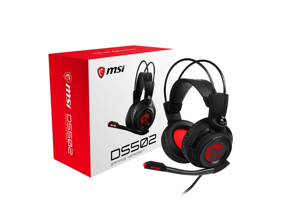 AURICULAR MSI HS502 ( DS502 ) GAMING | NEGRO | LED- ROJO