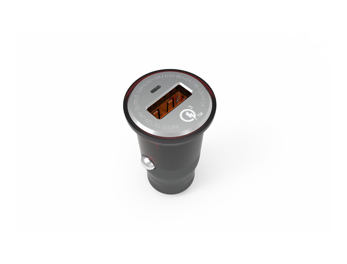 CARGADOR DE COCHES LDNIO QUALCOMM ( C304Q ) GRIS   1 USB