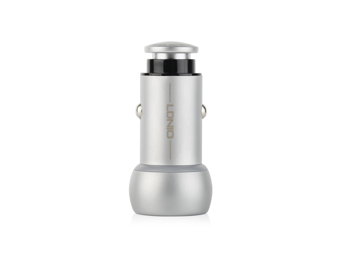 CARGADOR DE COCHES LDNIO ( C401 ) PLATA   2 USB