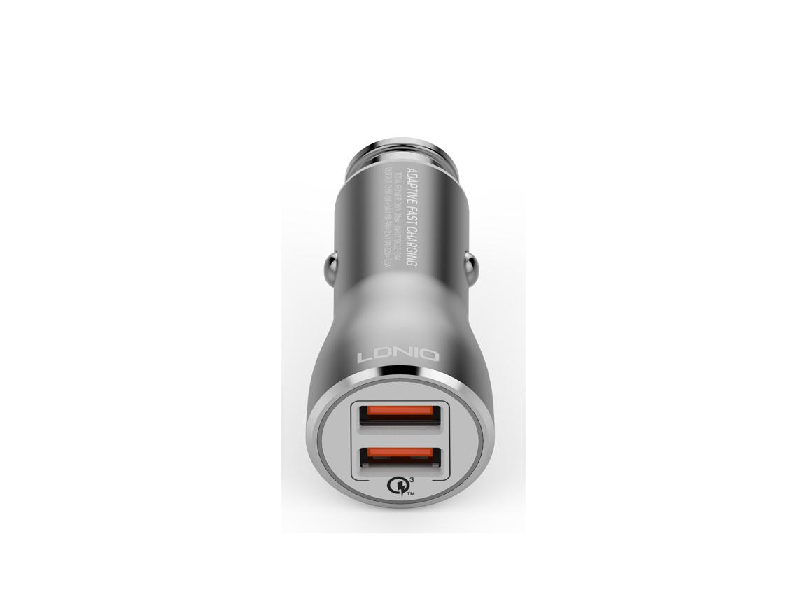 CARGADOR DE COCHES LDNIO POWERFUL CAR ( C407Q ) GRIS | 2 USB