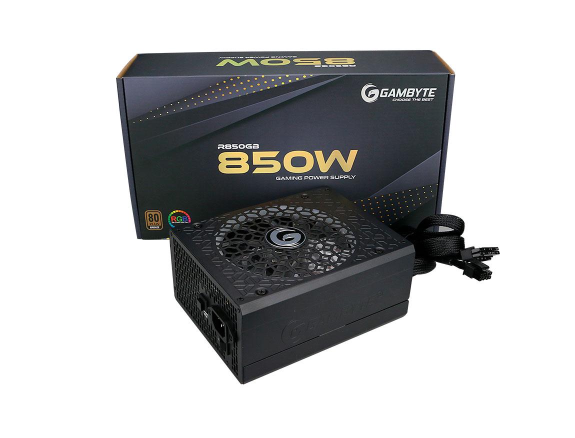 FUENTE GAMBYTE R850GB ( MG-R850GB-BR ) NEGRO | 850W | SEMI- MODULAR| BRONZE | LED- RGB