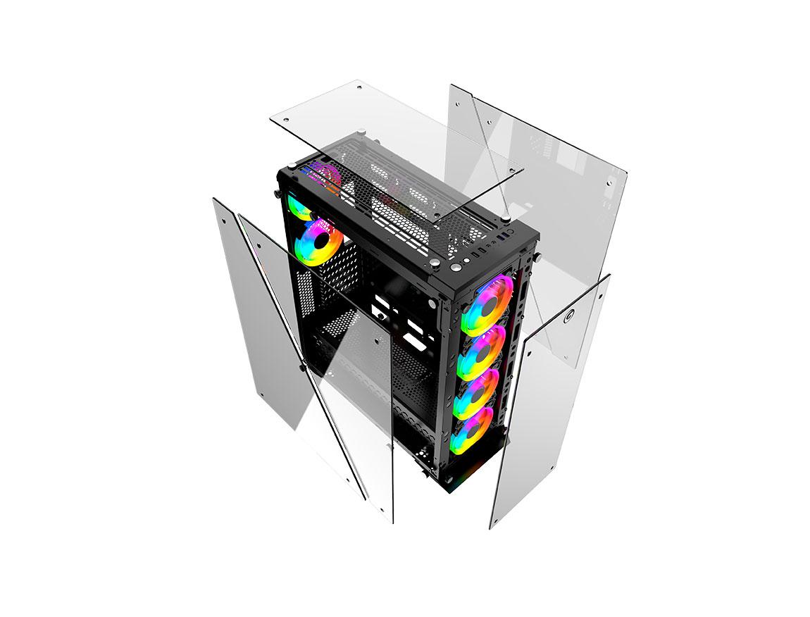 CASE GAMBYTE GHOST-Z ( GHOST-Z ) S/ FUENTE | NEGRO | 2 PANEL VIDRIO | LED - ARGB