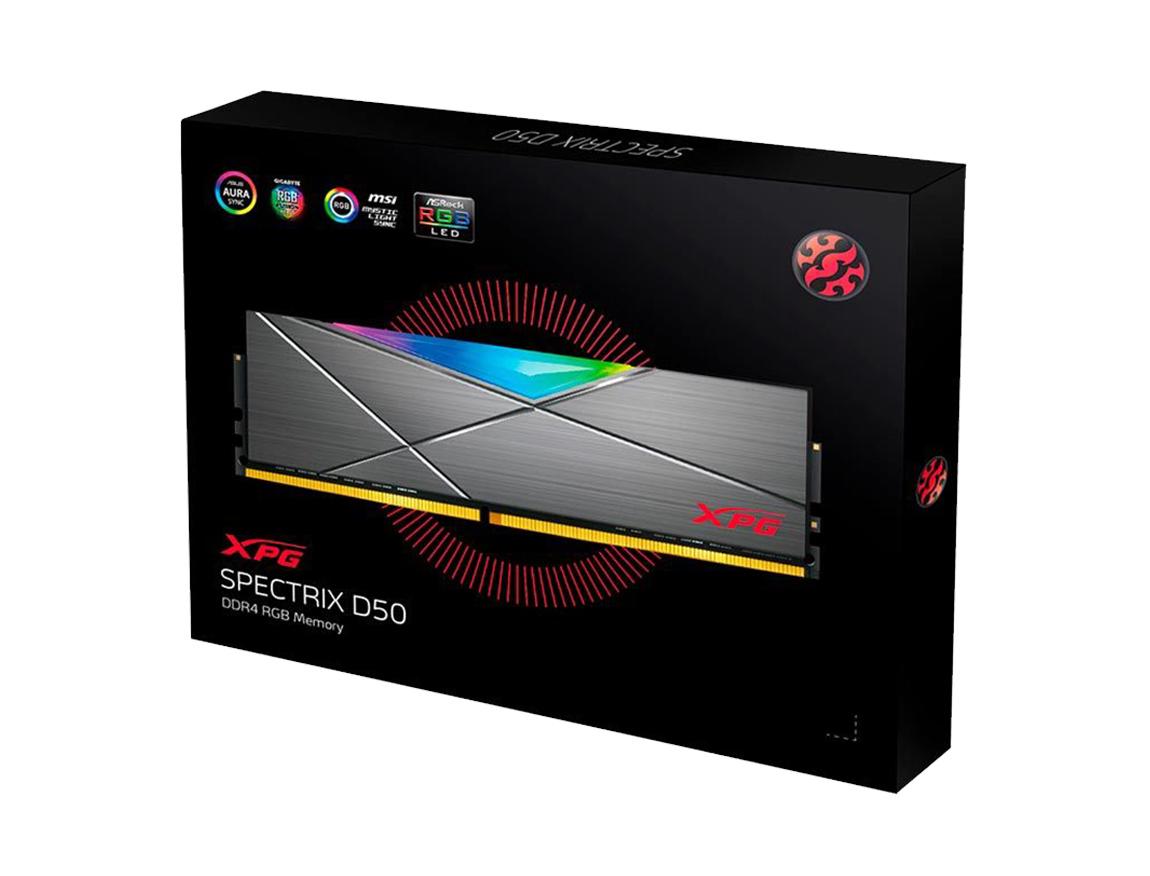 MEM. RAM ADATA XPG SPECTRIX D50 DDR4 16GB/3200 ( AX4U320016G16A-ST50 ) GRIS   LED - RGB