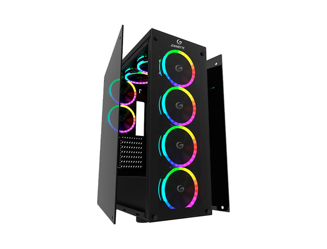CASE GAMBYTE GHOSTX ( GI-GHOSTX-AI ) S/ FUENTE | 2 PANEL VIDRIO | LED - ARGB