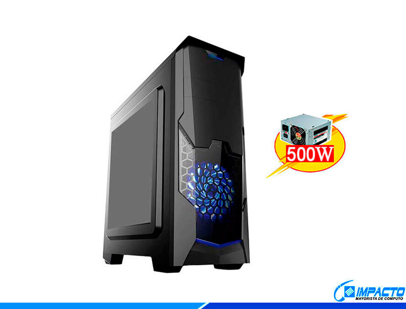 CASE HALION PHANTOM ( 8804 ) 500W | NEGRO | 1 PANEL ACRILICO | LED- AZUL