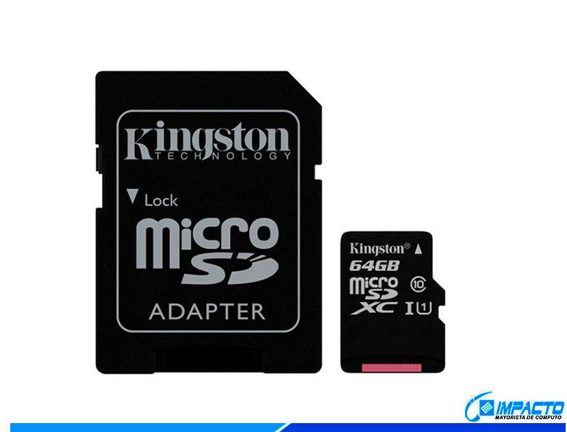 MEM. MICRO SD KINGSTON 64GB ( SDCS/64GB ) C/ CARD ADAPTADOR