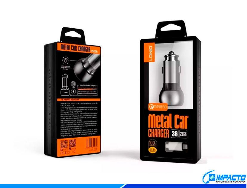 CARGADOR DE COCHES LDNIO METAL CAR ( C503Q ) GRIS | 2 USB
