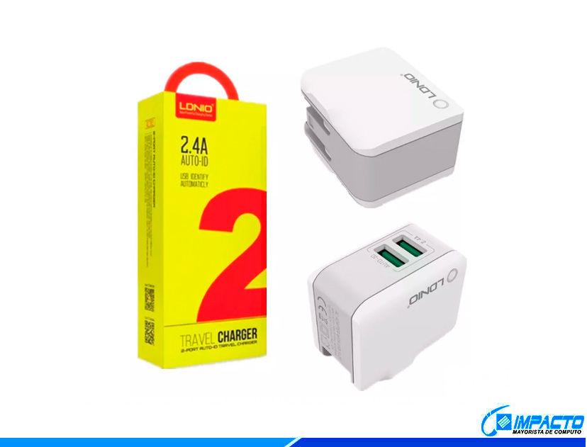 CARGADOR + CABLE USB LDNIO TRAVEL ( A2203 ) BLANCO | 2 USB