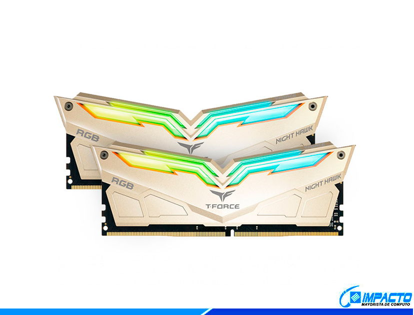 MEM. RAM TEAMGROUP T-FORCE NIGHT HAWK DDR4 16GB(2X8)/3200 ( TF7D416G3200HC14ADC01 ) ORO | LED- RGB
