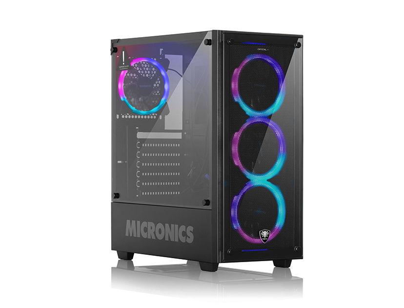 CASE MICRONICS FANATIC CRYSTAL + ( FNT 8021 ) S/ FUENTE | NEGRO | 1 PANEL VIDRIO | LED- RGB