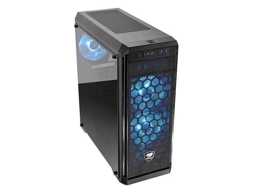 CASE COUGAR MX330-G  ( 385NC10.0006 ) S/ FUENTE | NEGRO | 1 PANEL VIDRIO | LED- RGB