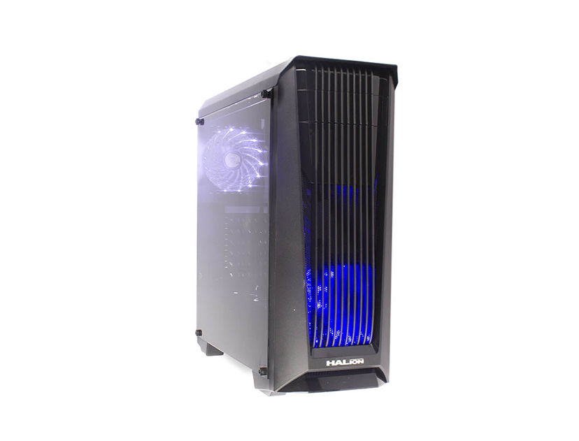 CASE HALION PHANTOM ( 8803 ) 500W | NEGRO | 1 PANEL ACRILICO | LED- AZUL