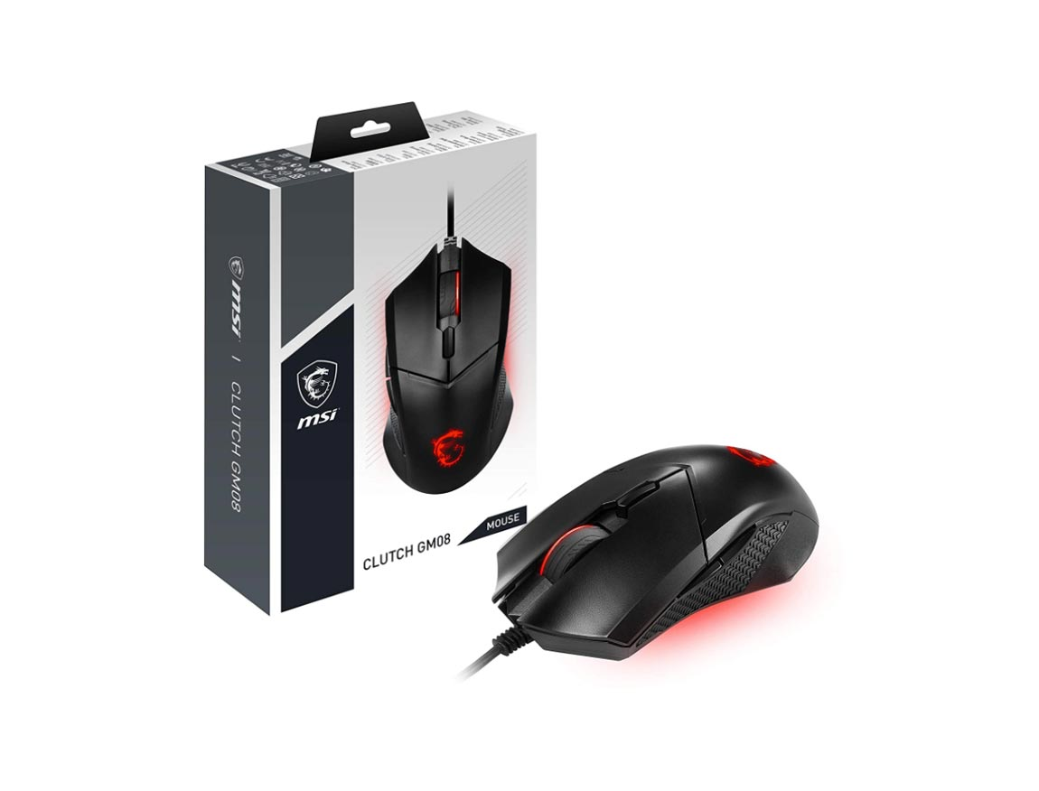 MOUSE MSI CLUTCH GM08 GAMING GEAR ( CLUTCH GM08 ) GAMING | NEGRO | LED- ROJO