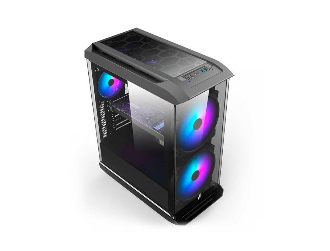 CASE 1STPLAYER FIREBASE X8 ( X8 ) S/ FUENTE | 3 PANEL VIDRIO | LED -RGB