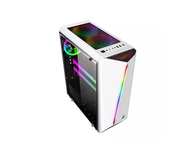 CASE 1STPLAYER RAINBOW R3 ( R3 ) BLANCO | S/ FUENTE | 1 PANEL VIDRIO | LED -RGB