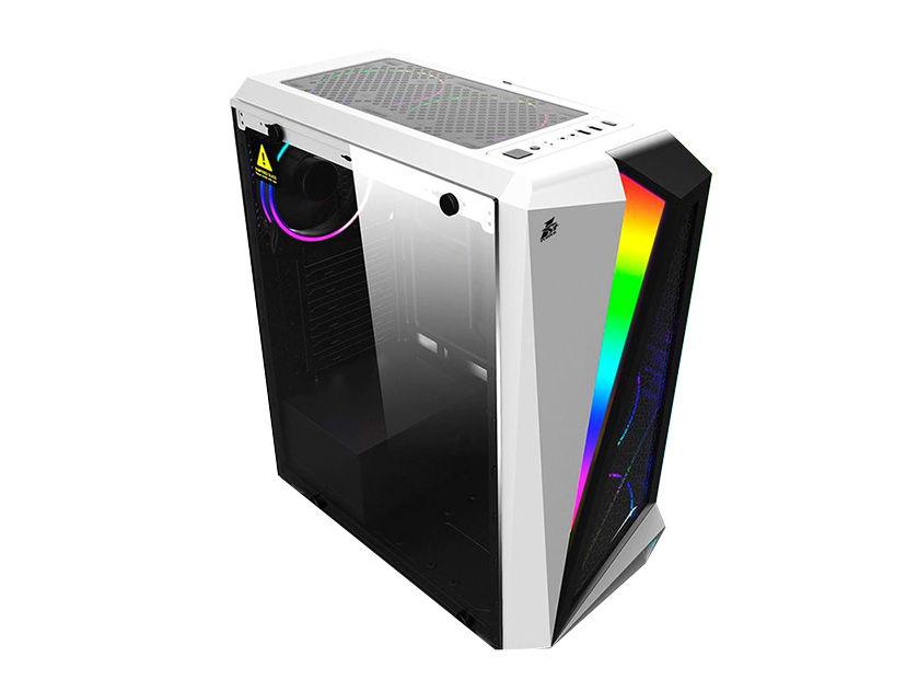 CASE 1STPLAYER RAINBOW R5 ( R5 ) BLANCO | S/ FUENTE | 1 PANEL VIDRIO | LED -RGB