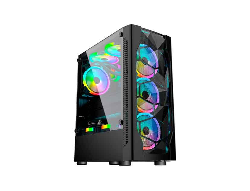 CASE 1STPLAYER D4 ( D4 ) NEGRO | S/ FUENTE | 1 PANEL VIDRIO | LED -RGB