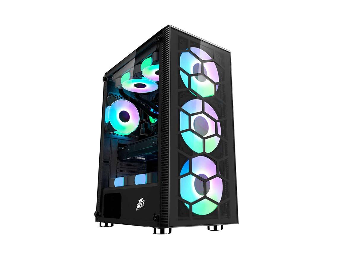 CASE 1STPLAYER X7-G ( X7-G ) NEGRO | S/ FUENTE | 1 PANEL VIDRIO | LED - RGB