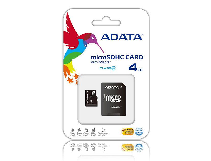 MEM. MICRO SD ADATA 4GB ( AUSDH4GCL4-RA1 ) C/ CARD ADAPTADOR