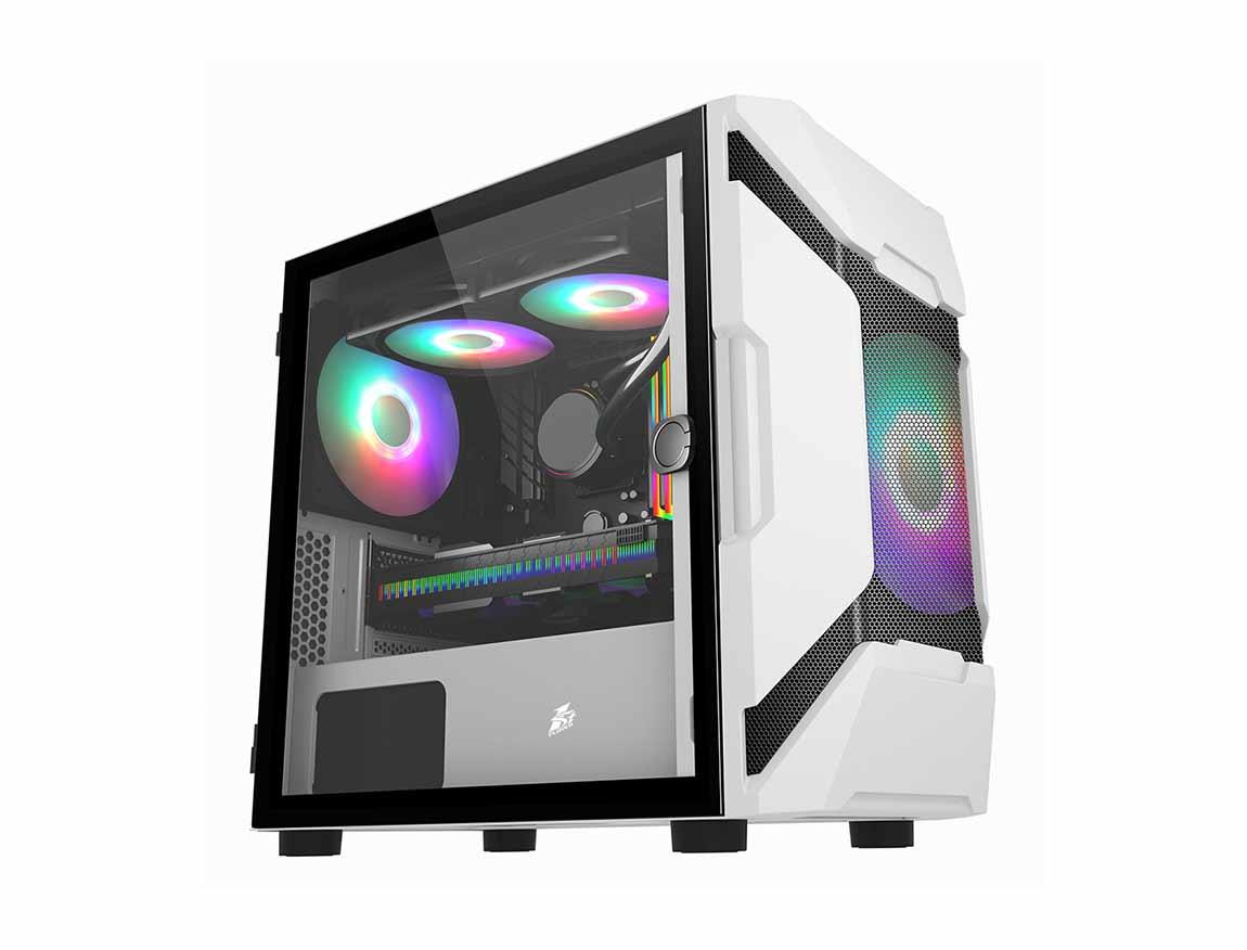 CASE 1STPLAYER D3-A ( D3-A ) BLANCO | S/ FUENTE | 1 PANEL VIDRIO | LED -RGB