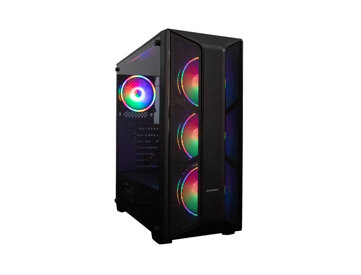 CASE AVATEC CERTIFICADO ( CCA-5003B ) 550W   NEGRO   1 PANEL VIDRIO   LED - RGB