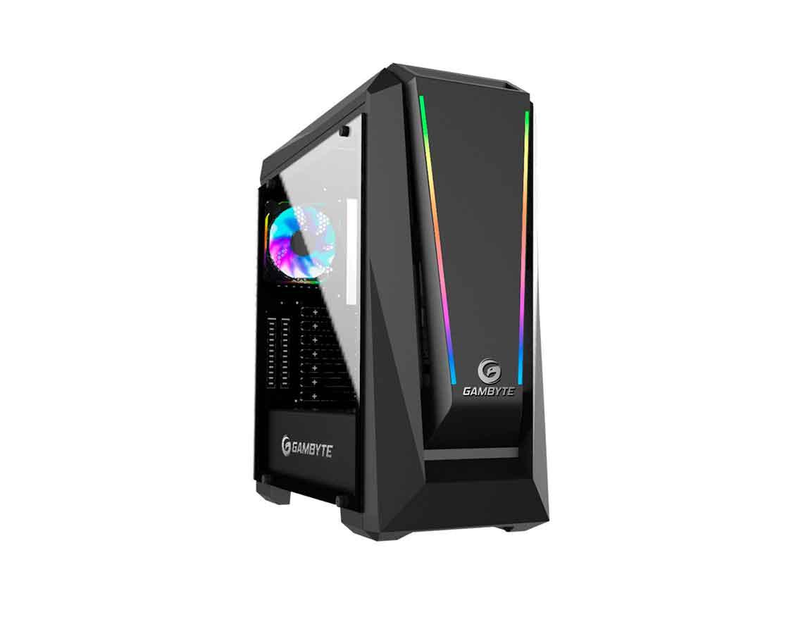 CASE GAMBYTE RYVEN ( GTA80818A ) S/ FUENTE | NEGRO | 1 PANEL VIDRIO | LED- RGB
