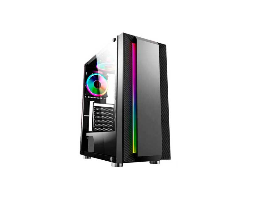 CASE HALION FLASH ( FLASH CH03BK ) 500W | NEGRO | PANEL VIDRIO | LED- RGB