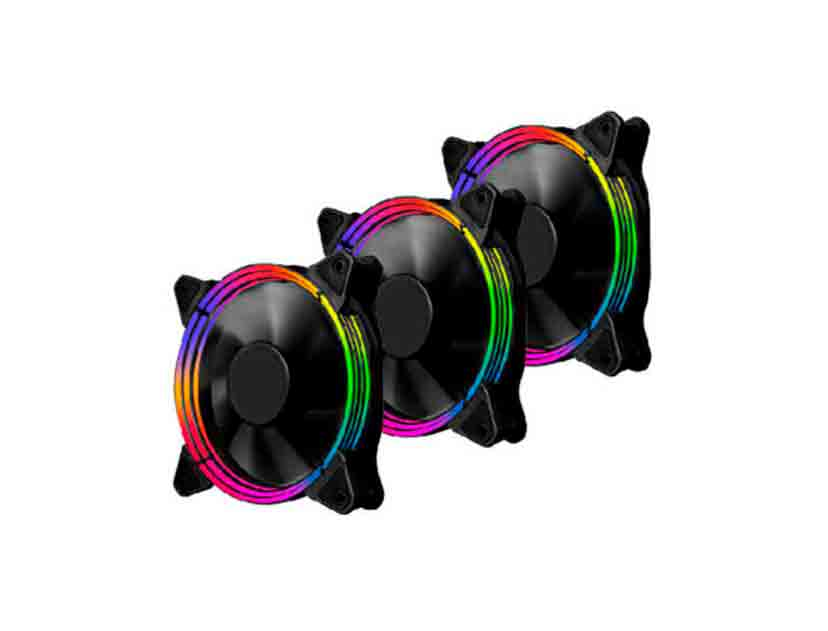 COOLER PARA CASE + MODULO DE CONTROL 1STPLAYER FIREBASE G3 ( DF1202512SEMN ) PACK 3   120MM   LED- RGB
