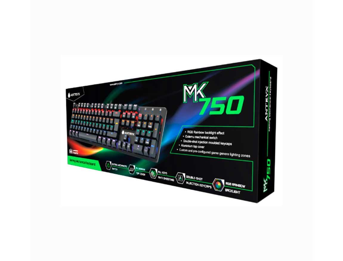TECLADO ANTRYX CHROME STORM MK 750  ( AMK-CS750KBL-SP )  MECANICO | SWITCH AZUL | LED -RGB
